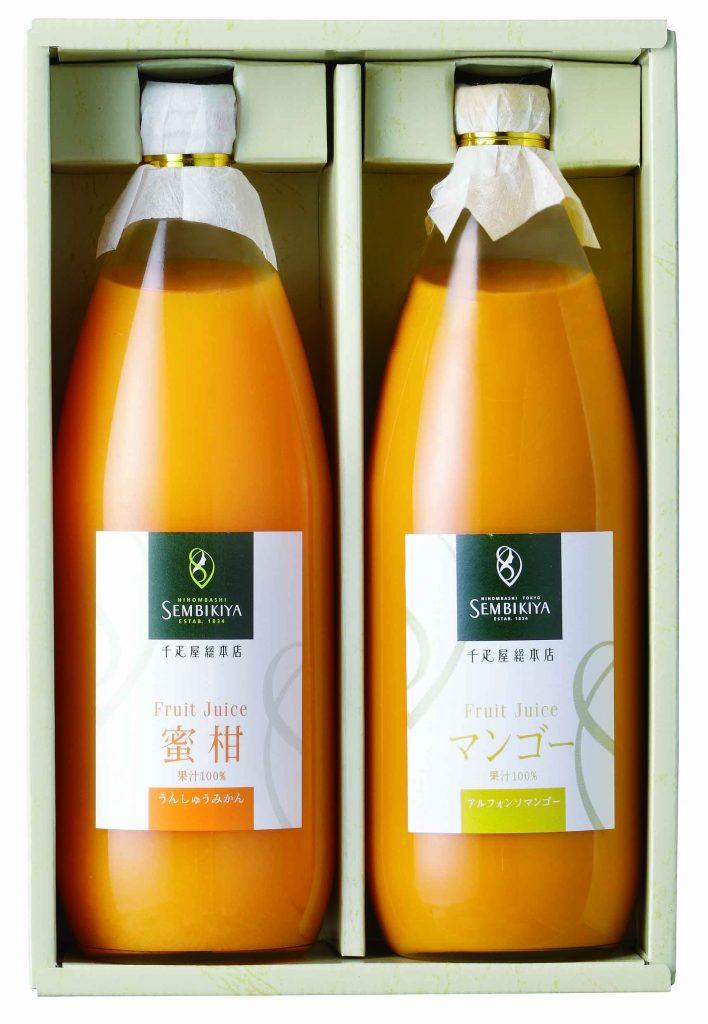 果汁100%ジュース2本化粧箱入り うんしゅうみかん、アルフォンソマンゴー