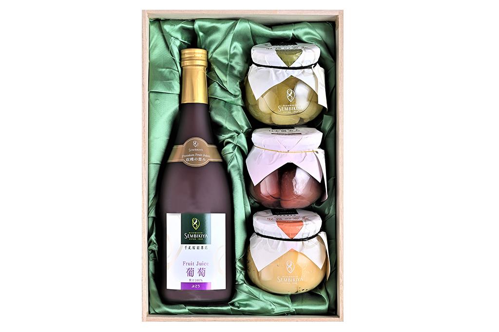 日本橋美人 イチジクジェリー、 収穫の恵み プレミアムジェリー、プレミアムジュース詰合 桐箱入